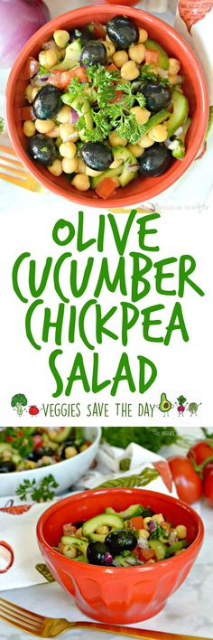 Olive Cucumber Chickpea Salad