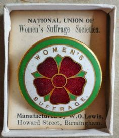 Suffragette enamel badge: National Union of Women's Suffrage Societies, made by W.O. Lewis of Birmingham.