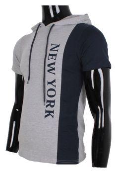TEE SHIRT A CAPUCHE NEW YORK GRIS L