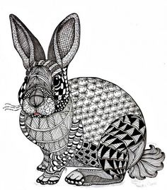 Tangled bunny from a template created by Ben Kwok by Lucy Banta #zentangle #tangadoodletoo