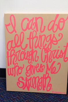 I can do all things through Christ who gives me strength 16 x 20 inch canvas quote via Etsy