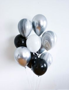 Black and Silver Birthday Party Balloons // Set of 12 Birthday Balloon, Party Decorations, Bachelore Silver Party Decorations, Birthday Balloon Decorations, Birthday Balloons, Black And White Balloons, Marble Balloons, Balloon Bouquet, Black Silver, Black White, Bachelorette Parties