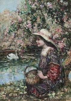 Edward Atkinson Hornel (British, 1864-1933) Springtime 34 x 24 cm. (13 3/8 x 9 7/16 in.)