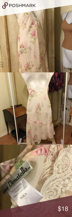 Simply beautiful night gown! Delicate feminine gown is very figure flattering. 4th photo shows hi low cut with layers under slip. Says small. Fit size10-12 very soft pink. Pit to pit 18 inches. Linea Donatella Intimates & Sleepwear Chemises & Slips