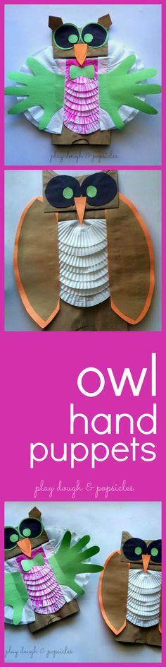 Paper Bag Owl Hand PuppetsPinned by www.myowlbarn.com