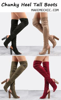 Suede Stacked Heel Tall Boots