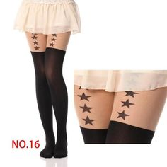 New Sexy Girl's Pantyhose Design Pattern Printed Tattoo Stockings Cat shape 20 Style Sheer Pantyhose Mock Stockings Tights 90cm