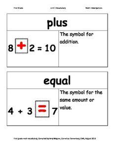First Grade Math Investigations Unit One Vocabulary