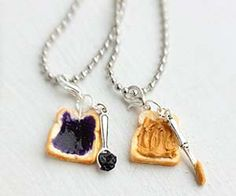 Peanut Butter Grape Jelly Best Friends Necklace - Miniature Food Jewelry - Food Jewelry from bookmarksnrings on Etsy. Saved to Things I want as gifts. Bff Necklaces, Best Friend Necklaces, Friendship Necklaces, Best Friend Jewelry, Cute Jewelry, Jewelry Accessories, Etsy Jewelry, Accesorios Casual, Best Stocking Stuffers