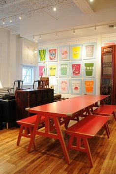 love the picnic table idea for indoors.  Not the splintery kind w/ attached benches.