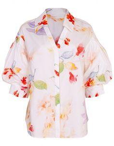 Peter Pilotto Oversized Collar Printed Shirt In White Printed Cotton, Printed Shirts, Peter Pilotto, Clothing Size Chart, Top Sales, Evening Gowns, Men Casual, Shirt Dress, Mens Tops