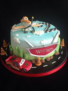 Lightning McQueen and Dusty Crophopper cake