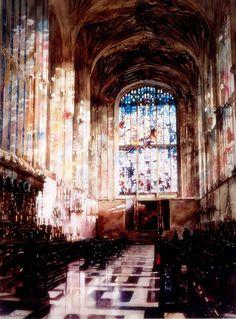 Paul Dmoch King's College Chapel de Cambridge #watercolor jd