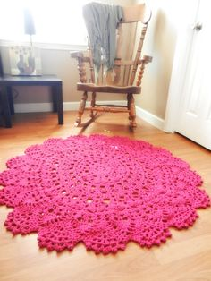 Giant Crochet Doily Rug - Magenta- Hot Pink Lace -large area rug- Handmade- Cottage Chic- Oversized- Rustic Chic Rug, Round rug