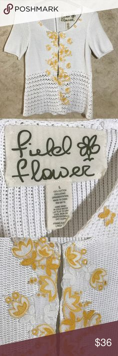 """Anthropologie Fielel Flower Sweater 100% cotton and just gorgeous. Clasps with eye hooks hold it together from the underside. Size L. Shoulder to hem: 24"""", pit to pit: 17"""". Please check yourself against these dimensions! Anthropologie Sweaters Cardigans"""
