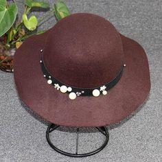 Elegant Womens Vintage Bucket Hat- Pearl Wide-Brim Wool Fedoras Wide Brim  Fedora 623ba17c9229