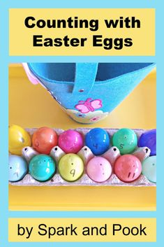 Part egg hunt, part counting activity - toddlers and preschoolers are sure to love this activity with Plastic Easter Eggs - Spark and Pook