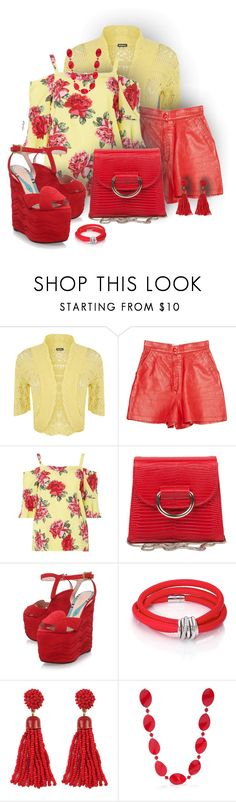 """""""Tea roses in red"""" by ana-kreb ❤ liked on Polyvore featuring WearAll, Iceberg, Dorothy Perkins, Little Liffner, Gucci, de Grisogono and Kim Rogers"""