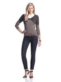 Kier & J Women's Cashmere Lace V-Neck Sweater (Marron Chine/Black Lace)
