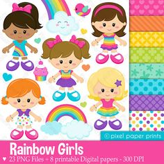 Rainbow girls  Clipart and Digital Paper Set by pixelpaperprints, $6.75