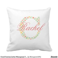 Coral Custom Letter Monogram C With Name