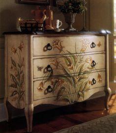 Hand painted La Cienega finish accent chest antiquefurniture.guidestobu...