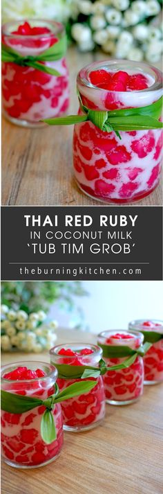Thai Red Ruby Dessert in Fresh Coconut Milk (Tub Tim Grob): If you love Thai desserts like Mango Sticky Rice, you will probably love this refreshing and and vibrantly coloured dessert with its ruby-hued crunchy water chestnuts coated in tapioca jelly, swimming in a soup of freshly squeezed coconut milk. We like to call this the Thai version of bubur cha cha!: