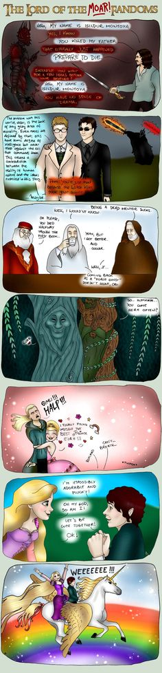 Lord of the Fandoms 3 by AnabelG.deviantart.com    Just cuz this is the best part. O.M.F.G, Gandalf owns so much. And i just can breath cuz of the last panel...