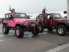 Pink Jeep, Burgundy Jeep (Bettie Page Styled) Tags: pink red galveston cute girl lady club real texas jeep offroad 4x4 top girly tx awesome barbie houston wranglers down off parade topless mardigras winch girlie 2009 tj jk outlaw pinkjeep halfdoor wrangler rubicon onlyinajeep bacliff pinkwheels jeeper
