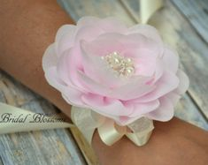Your place to buy and sell all things handmade Flower Corsage, Wrist Corsage, Bride Flowers, Chiffon Flowers, Corsage Wedding, Bridesmaid Corsage, Bridal Cuff, Ribbon Colors, White Satin