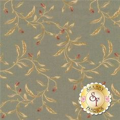 """Country French 8306-G by Maywood Studio Fabrics: Country French is a floral fabric collection by Maywood Studio Fabrics. This fabric features vines tossed on a green background. Width: 43""""/44""""Material: 100% CottonSwatch Size: 6"""" x 6"""""""