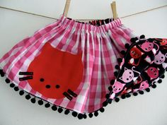 CHILDRENS REVERSIBLE SKIRT Red Kitty Cat Twirly by WhimsyRanch