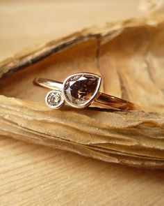 Chocolate and Champagne Diamond Ring. $995.00, via Etsy.