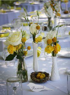 Yellow centerpieces