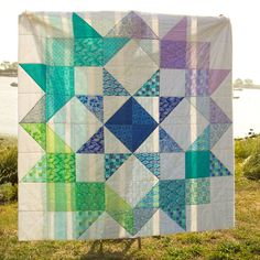 Moda Love quilt using a layer cake.  Horizon by Kate Spain.  I'm not a huge Kate Spain fan but I LOVE this quilt.