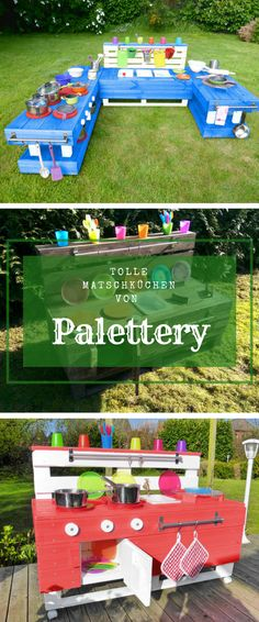 Such a TOLLER SHOP ! Palettery makes (of course by hand) out of pallets garden furniture, raised be Natural Playground, Backyard Playground, Backyard For Kids, Diy For Kids, Pallet Garden Furniture, Pallets Garden, Pallet Playhouse, Sensory Garden, Mud Kitchen