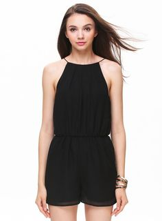 Black Sleeveless Halter Keyhole Back Jumpsuit