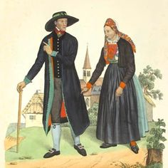 Staroněmecký kroj; Mährische Volkstrachten - Iglauer Kreis - Herrschaft Iglau, Ehepaar - Altdeutsche Tracht
