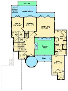 Dramatic Mediterranean Home Plan - floor plan - Floor Mountain House Plans, Family House Plans, Guest Suite, Master Suite, Three Story House, Two Sided Fireplace, Courtyard House Plans, Mediterranean House Plans, Covered Decks