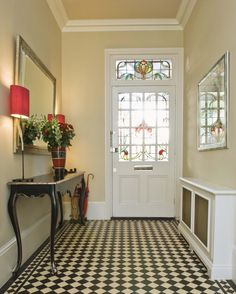 Download Awesome Country Hallway Decorating Ideas With Red Table Lamp Shade On Black French Console Table On Small Diagonal Checkerboard Decorative Tile Floor With Trim Stained Glass Door Design Ideas HD Wallpapers