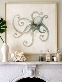 Melissa Barbieri Octopus Painting, this is really cool andwould be great for a coastal bathroom.
