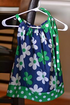 Pillow Case Dress Flowers Green White Blue by OnTheMarkCreations, $18.00