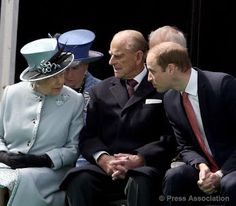 The Queen, The Duke of Edinburgh and The Duke of Cambridge at Runnymede Meadows for a service to mark the 800th anniversary of the Magna Carta, 15 June 2015