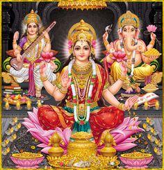 Shri Lakshmi Devi, Saraswati Devi, Ganesh ॐ Artist: Yogendra Rastogi