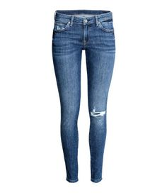 Super Skinny Low Jeans   Denimblå Trashed   Dame   H&M NO