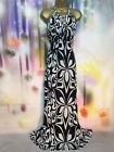 WALLIS JERSEY MAXI/FULL LENGTH BLACK/WHITE EVENING  DRESS SIZE 16-18 WEDDING