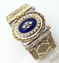 Vintage 14k Gold & Enamel Hidden Wrist Watch Bracelet Pendant Brooch * Not Scrap