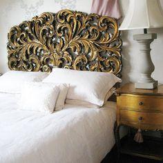 Carved, rococo-style gilt headboard #bedroom #headboard