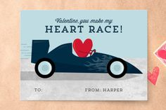 You Make My Heart Race Classroom Valentine's Cards by Iron Range Artery at minted.com #Minted #Valentines