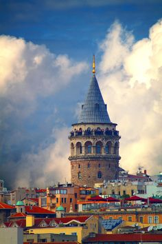 The Galata Tower in Istanbul, Turkey. The medieval stone tower is in the Galata/Karaköy quarter of Istanbul, and is one of the city's most striking landmarks. Places Around The World, Oh The Places You'll Go, Travel Around The World, Places To Travel, Places To Visit, Around The Worlds, Wonderful Places, Great Places, Beautiful Places